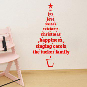 Christmas Multicolor Wishes Tree Removable Glass Window Wall Stickers -  RED
