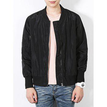 Stand Collar Zip Up Pocket Sleeve Bomber Jacket