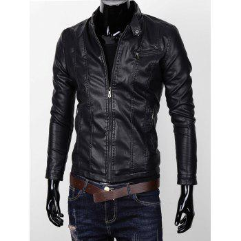 Zipper Pocket Stand Collar Faux Leather Jacket
