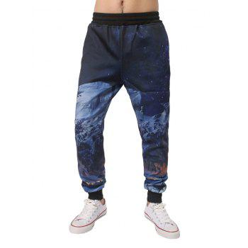 3D Night Scene Printed Elastic Waist Jogger Pants