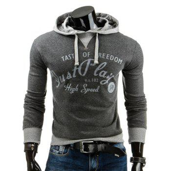 Buy Slim Fit Letter Printed Color Block Pullover Hoodie DEEP GRAY