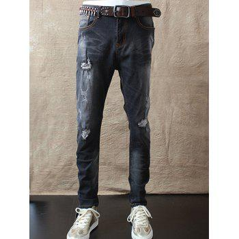 Slim Fit Zipper Fly Mid Waist Distressed Jeans