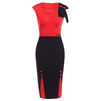 Two Tone Vintage Midi Pencil Dress For Work