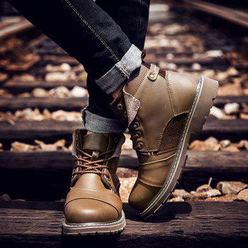 Suede Panel Lace Up Short Boots - BROWN 42