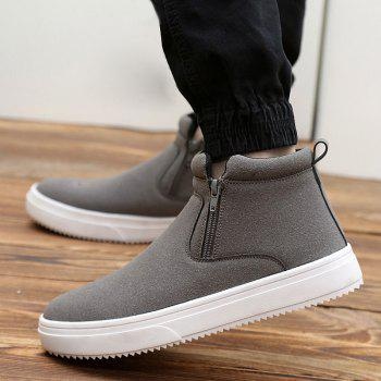 Suede Double Zips Ankle Boots - GRAY 43
