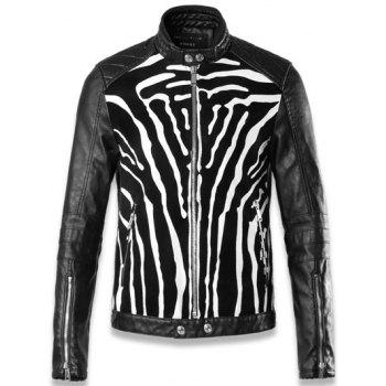 Quilted Shoulder Zip Up Insert Faux Leather Jacket