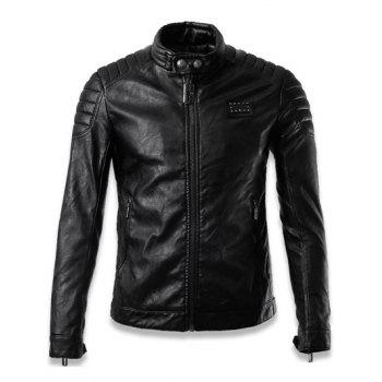 Stand Collar Faux Leather Zip Up Jacket