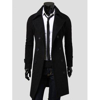 Turndown Collar Double Breasted Lengthen Wool Coat