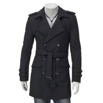 Buy Turndown Collar Double Breasted Epaulet Embellished Wool Coat BLACK