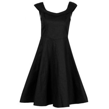 Retro Fit and Flare Swing Dress - BLACK S