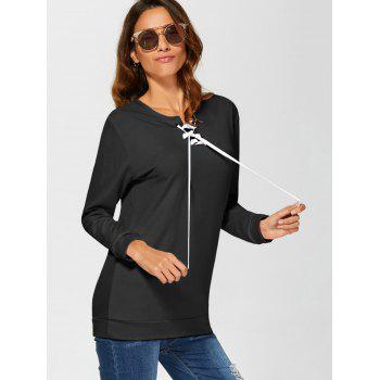 Lace-Up Casual Sweatshirt - BLACK M
