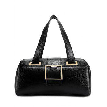 Metal Buckle Strap PU Leather Tote
