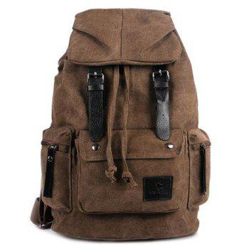 Double Buckle Pocket Drawstring Backpack