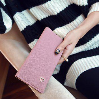 Snap Closure Textured Leather Heart Pattern Wallet -  PINK