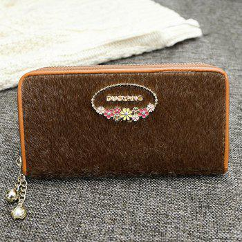 Flowers Metal Faux Fur Wallet -  BROWN