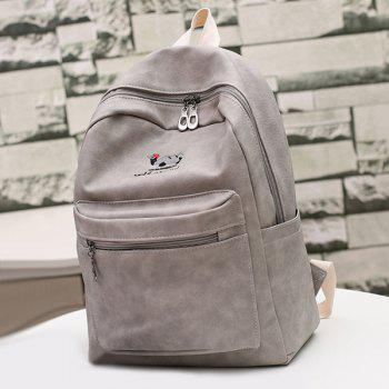 Zippers PU Leather Embroided Backpack