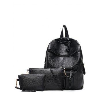 Zippers Textured Leather Pockets Backpack