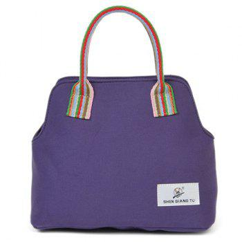 Canvas Colour Splicing Striped Pattern Tote Bag