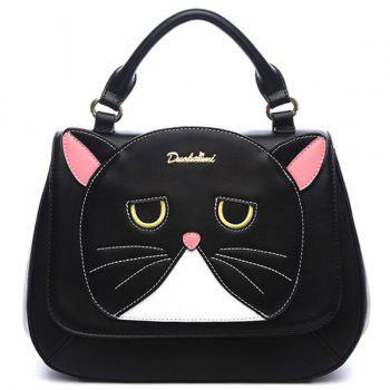 Colour Spliced Stitching Cat Pattern Crossbody Bag