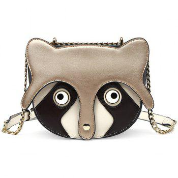 Colour Spliced Chain Fox Pattern Crossbody Bag