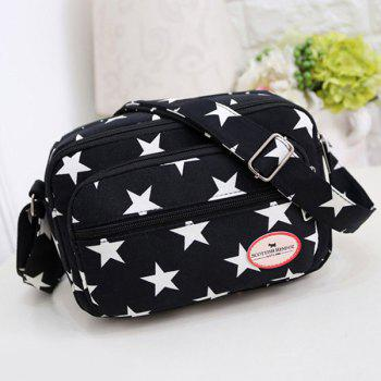 Colour Splicing Zippers Star Printed Crossbody Bag