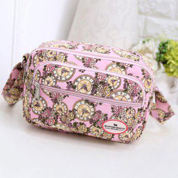 Canvas Color Spliced Clock Pattern Crossbody Bag