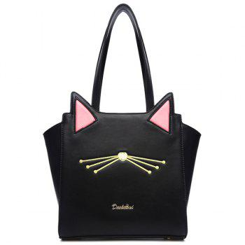 Colour Splicing PU Leather Embroidery Shoulder Bag