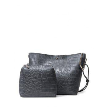 Metal Magnetic Closure Embossed Shoulder Bag