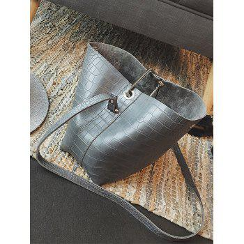 Metal Magnetic Closure Embossed Shoulder Bag - GRAY
