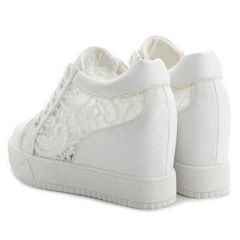 Hidden Wedge Hollow Out Platform Shoes - WHITE 39