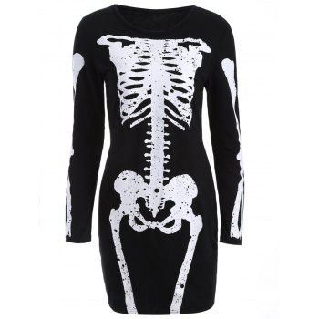 Skinny Bone Pattern Bodycon Dress