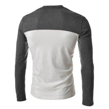 Slimming V-Neck Fashion Two Color Splicing Fake Pocket Long Sleeve Polyester Men's T-Shirt - M M