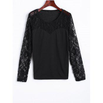 Lace Spliced See Through Tee