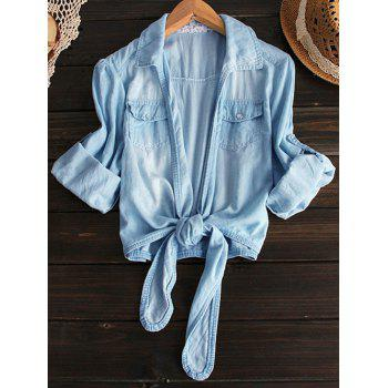 Shirt Neck Tied Denim Shirt