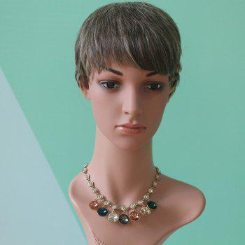 Short Pixie Cut Mixed Color Straight Neat Bang Synthetic Wig