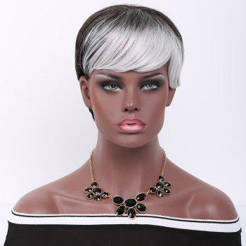 Short Pixie Cut Double Color Straight Side Bang Synthetic Wig