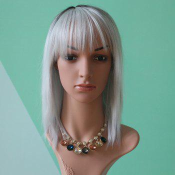 Medium Double Color Straight Full Bang Synthetic Wig