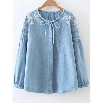 Embroidered Button Up Denim Blouse