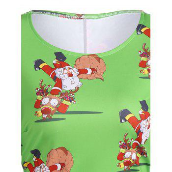 Christmas Plus Size Santa and Reindeer Print Dress - GREEN XL