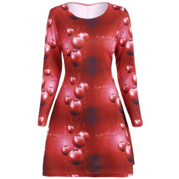 Christmas Plus Size 3D Print Dress - RED XL