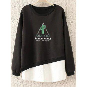 Round Neck Embroidered Panel Sweatshirt