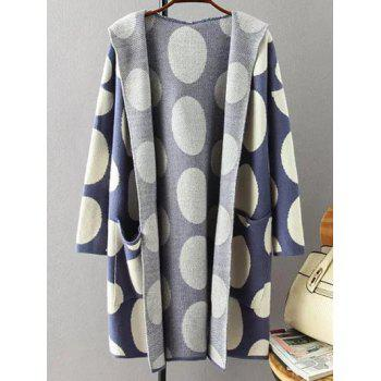 Hooded Polka Dot Knitted Cashmere Cardigan