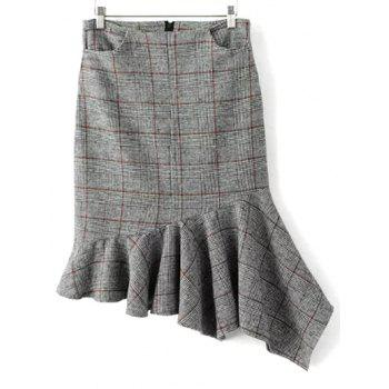 Plaid Asymmetric Mermaid Winter Skirt