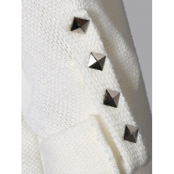 Loos Fit One Pocket Rivets Embellished Knitwear - WHITE WHITE