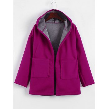 Plus Size Hooded Candy Color Long Open Front Coat - FUCHSIA ROSE FUCHSIA ROSE