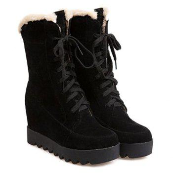 Lace Up Mid Calf Hidden Wedge Boots - BLACK 37
