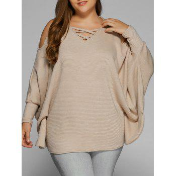 Plus Size Cold Shoulder V Neck Dolman Sleeve Sweater