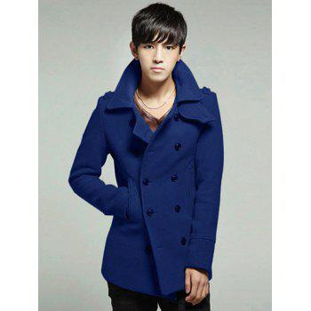 Turndown Collar Double Breasted Wool Blend Coat