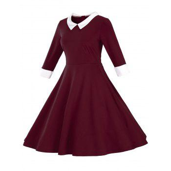 Fit and Flare Color Block Vintage Dress - WINE RED WINE RED