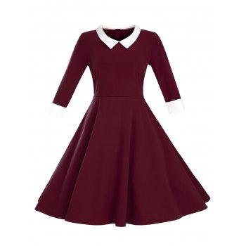 Fit and Flare Color Block Vintage Dress - WINE RED M